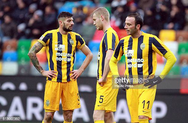 Hellas Verona's forward Giampaolo Pazzini with Hellas Verona's defender Filip Helander and Hellas Verona's defender Eros Pisano reacts during the...