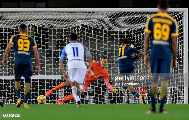 Hellas Verona's Italian forward Giampaolo Pazzini kicks and scores a penalty during the Italian Serie A football match Hellas Verona FC vs Inter...
