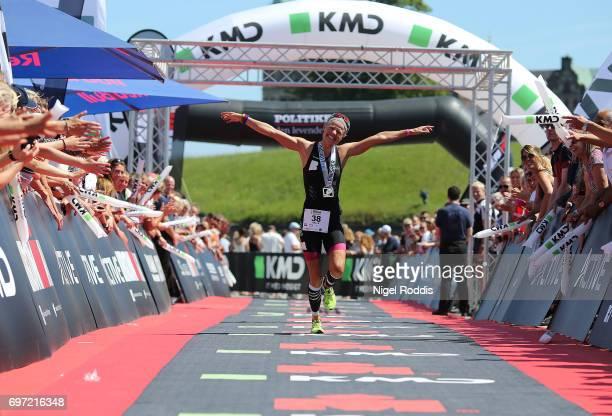 Helle Frederiksen of Denmark reacts after finishing second at KMD IRONMAN 703 European Championship Elsinore on June 18 2017 in Helsingor Denmark