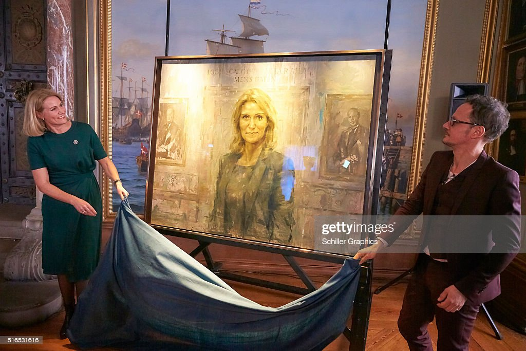 Helle ThorningSchmidt and Jonathan Yeo unveil the first official portrait of the former Danish Prime minister during the 'Jonathan Yeo Portraits'...