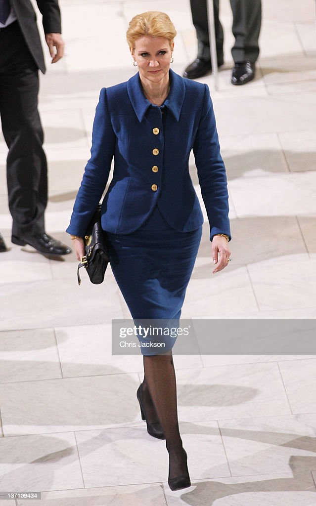 Helle ThorningSchmidt attends a service to celebrate Queen Margrethe II of Denmark's 40 years on the throne at Christiansborg Palace Chapel on...
