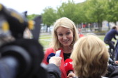 Helle ThorningSchmidt Denmark's prime minister center speaks to journalists following a news conference at the Chancellery in Berlin Germany on...