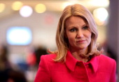 Helle ThorningSchmidt Denmark's prime minister pauses during a television interview on day two of the World Economic Forum in Davos Switzerland on...