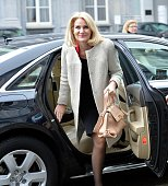 Helle ThorningSchmidt the Danish prime minister arrives to attend the meeting of Party of European Socialists ahead of the European Council on March...