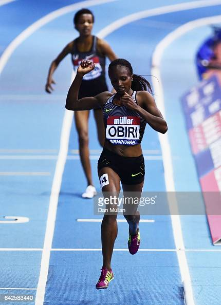 Hellen Obiri of Kenya celebrates as she wins the Women's 3000 metres final during the Muller Indoor Grand Prix 2017 at Barclaycard Arena on February...