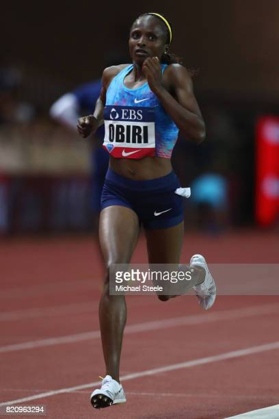 Hellen Obiri of Kenya on her way to victory in the women's 3000m during the IAAF Diamond League Meeting Herculis on July 21 2017 in Monaco Monaco