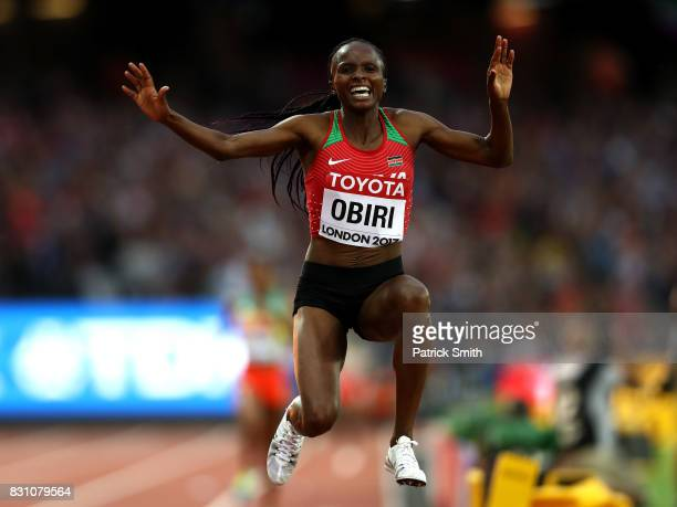 Hellen Onsando Obiri of Kenya celebrates after winning gold in the Women's 5000 metres final during day ten of the 16th IAAF World Athletics...