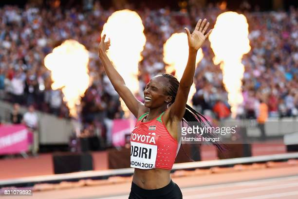 Hellen Onsando Obiri of Kenya crosses the finish line to win gold in the Women's 5000 metres final during day ten of the 16th IAAF World Athletics...