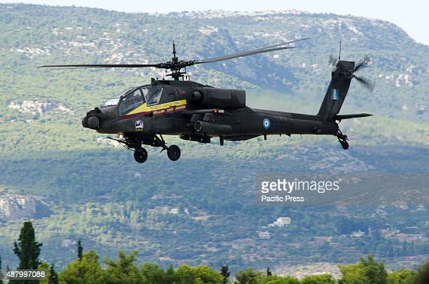 Hellenic Army Aviation AH64 Apache performs during the first day of Athens Flying Week Airshow in Tatoi Airbase