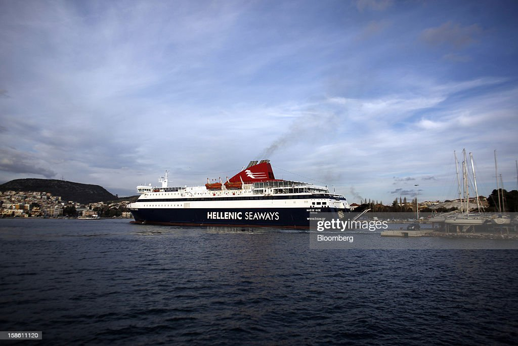 A Hellenic Seaways SA passenger ferry arrives at the harbor in Mytilene, on the island of Lesbos, Greece, on Saturday, Dec. 8, 2012. In recent months, Lesbos has become a hot spot for migrants as Greece struggles to cope with waves of refugees from Middle Eastern conflict even as it reels from economic crisis at home. Photographer: Kostas Tsironis/Bloomberg via Getty Images