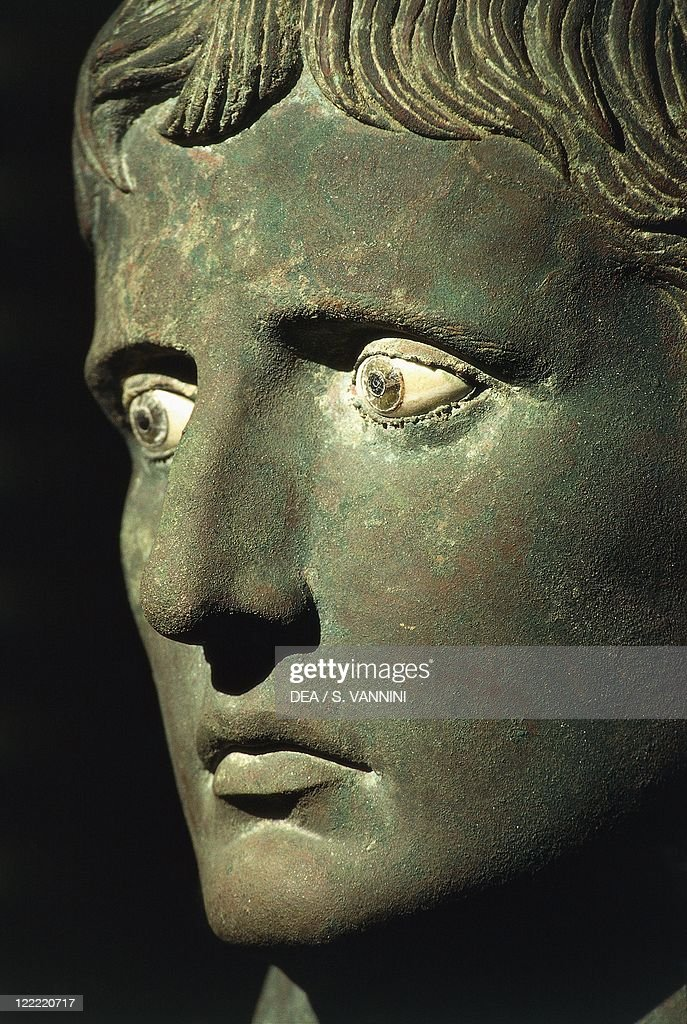Hellenistic art, 1st century b.C. Bronze head of Augustus, with glass and alabaster eyes, 27-25 b.C. From Meroe (Sudan). Detail.
