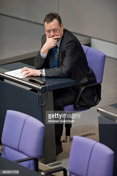Hellmut Koenigshaus armed Forces Commissioner of German Bundestag attends a plenary session in German Bundestag on November 28 2013 in Berlin Germany...