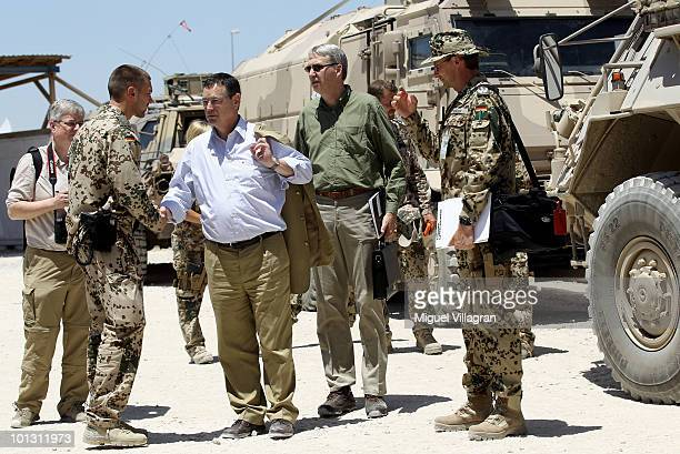 Hellmut Koenigshaus new parliamentary commissioner for the armed forces talks to soldiers on May 30 2010 in Kunduz Afghanistan Germany has more than...
