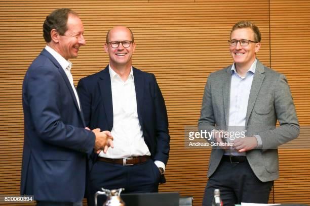 Hellmut Krug Andreas Nagel Florian Goette at DFB Headquarter on July 19 2017 in Frankfurt am Main Germany