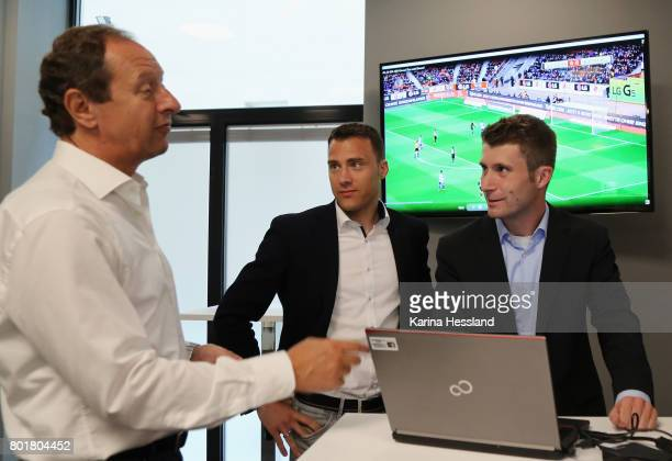Hellmut Krug Felix Zwayer and Ronny Zimmermann during the DFB Video Referee Media Workshop at Red Bull Arena on June 27 2017 in Leipzig Germany
