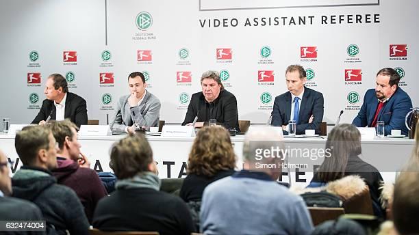 Hellmut Krug Felix Zwayer Ronny Zimmermann Ansgar Schwenken and Stephan Brause attend a DFB DFL Video Assistant Referee Press Conference at...