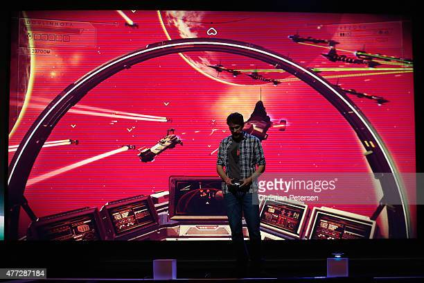 Hello Games Sean Murray demonstrates 'No Man's Sky' during the Sony E3 press conference at the LA Memorial Sports Arena on June 15 2015 in Los...