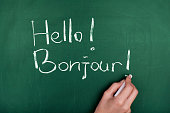 Woman hand writing ' Hello! Bonjour! ' on green blackboard