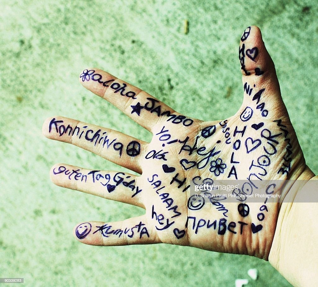 Hello in Many Languages Written on Open Hand : Stock Photo