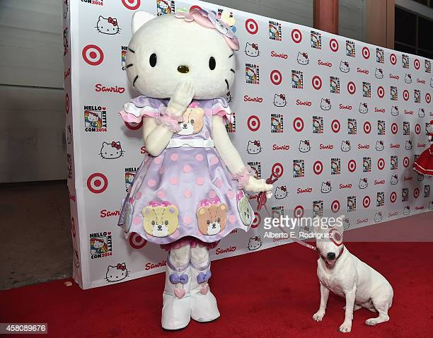 Hello Kitty and Bullseye the Target dog arrive to Hello Kitty Con 2014 Opening Night Party Cohosted by Target on October 29 2014 in Los Angeles...