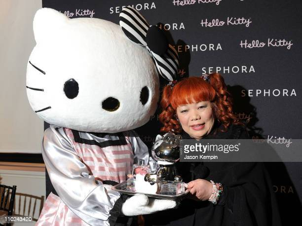 Hello Kitty and Hello Kitty designer Yuko Yamaguchi attend the Hello Kitty Designer Ms Yuko Yamaguchi event at Sephora Soho on March 16 2011 in New...