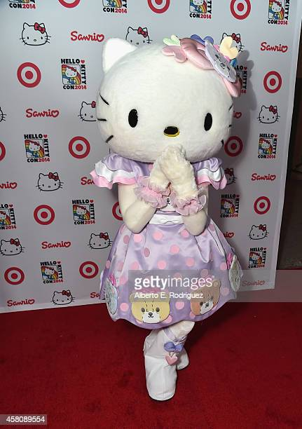Hello Kitty arrives to Hello Kitty Con 2014 Opening Night Party Cohosted by Target on October 29 2014 in Los Angeles California
