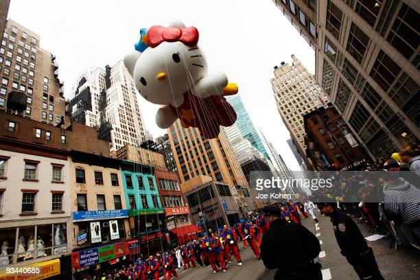 Hello Kitty balloon floats over the streets of Manhattan during the 83rd annual Macy's Thanksgiving Day Parade on the streets of Manhattan on...