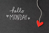 Hello Monday message with handmade small paper hearts