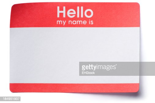 Hello Name Tag Sticker Isolated on White Background