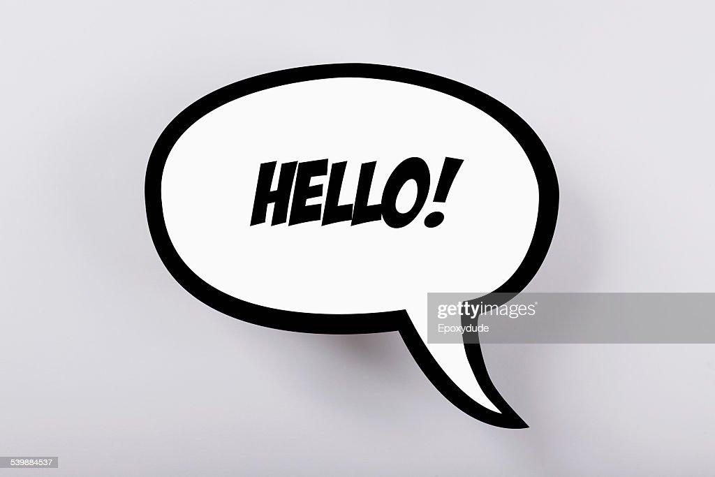 Hello! speech bubble against gray background