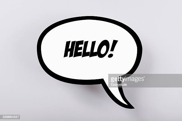 Hello! speech bubble against gray background
