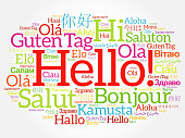 Hello word cloud collage in different languages of the world, background concept