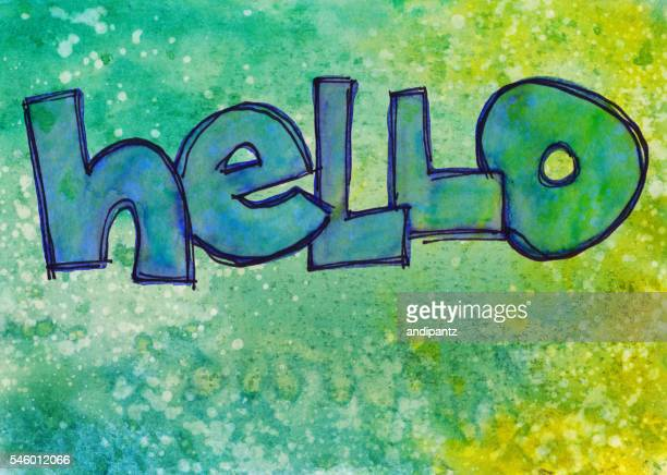 Hello word on multi-colored hand painted background