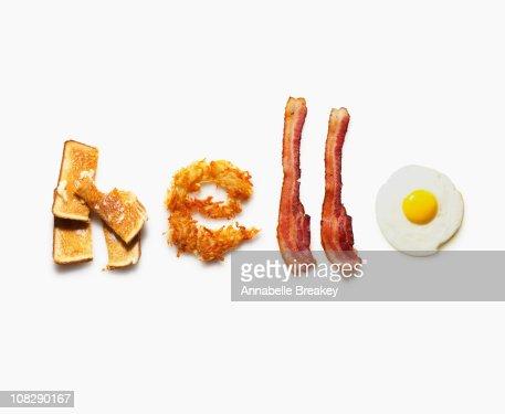 'Hello' written with breakfast food