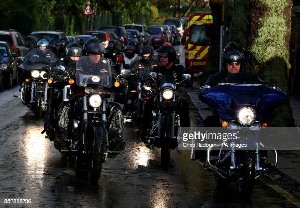 Hells Angel riders ahead of the arrival of the hearse carrying the Coffin of Ronnie Biggs Golders Green Crematorium in North London