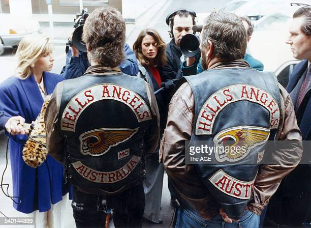 Hells Angels bikies Vinny Craven president of the Nomads Chapter and Les Phillips president of the Melbourne Chapter face the media outside the...