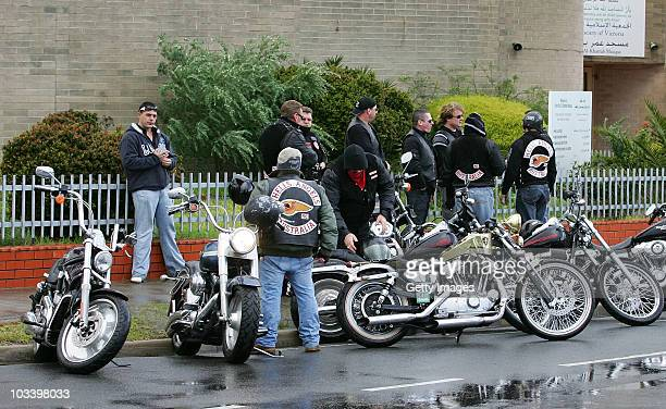 Hells Angels bikies wait outside during the funeral for Melbourne crime figure Macchour Chaouk at Preston Mosque on August 16 2010 in Melbourne...