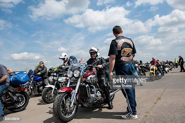 Hell's Angels check bikers in at the opening of the 26th Bulldog Bash at Shakespeare County Raceway on August 9 2012 in StratforduponAvon United...