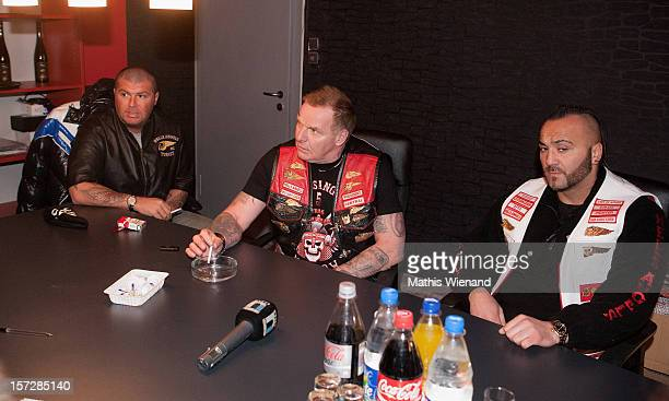 Hells Angels supporters and Christian Mueller the head of west central during the press conference on November 30 2012 in Krefeld Germany The 30...