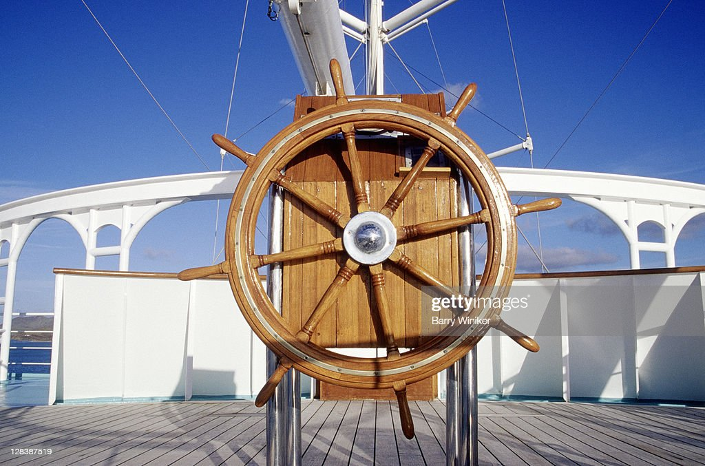 Helm of sailing ship : Stock Photo