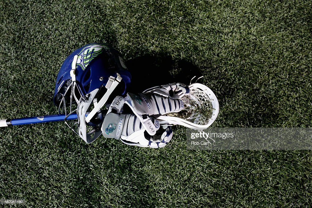 A helmet and stick of the Chesapeake Bayhawks is shown on the turf following the Bayhawks 1513 win over the Charlotte Hounds at NavyMarine Corps...