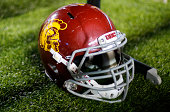 USC helmet is seen during the game between the Boston College Eagles and the USC Trojans on September 13 2014 at Alumni Stadium in Chestnut Hill...