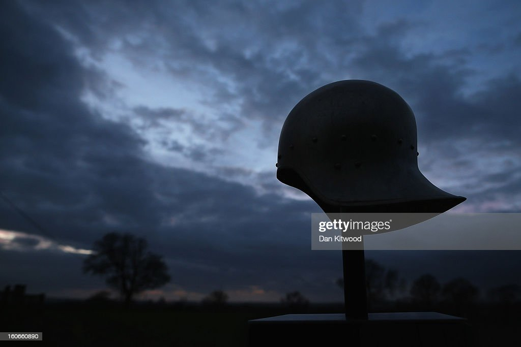 A helmet marks a trail over fields from the Bosworth Battlefield Heritage Centre on February 4, 2013 in Market Bosworth, England. The site is close to the spot where the Battle of Bosworth took place in 1485, and the place where King Richard III lost his life. The University of Leicester has been carrying out scientific investigations on remains found in a car park in Leicester to find out whether they are those of King Richard III since last September, when the skeleton was discovered in the foundations of Greyfriars Church, Leicester. King's Richard III's remains are to be re-intered at Leicester Catherdral.
