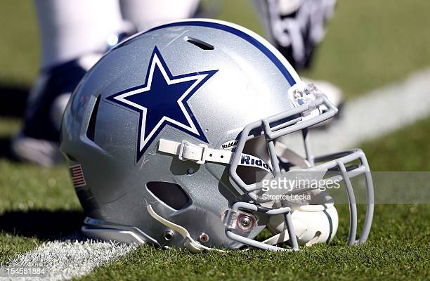 A helmet of the Dallas Cowboys during their game at Bank of America Stadium on October 21 2012 in Charlotte North Carolina