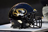 A helmet of the Missouri Tigers rests on the sideline during a game against of the Vanderbilt Commodores at Vanderbilt Stadium on October 24 2015 in...