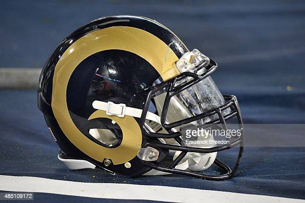 A helmet of the St Louis Rams rests on the sideline during a preseason game against the Tennessee Titans at Nissan Stadium on August 23 2015 in...