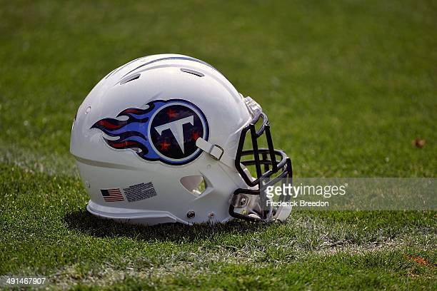 A helmet rests on the ground at the Tennessee Titans rookie camp on May 16 2014 in Nashville Tennessee