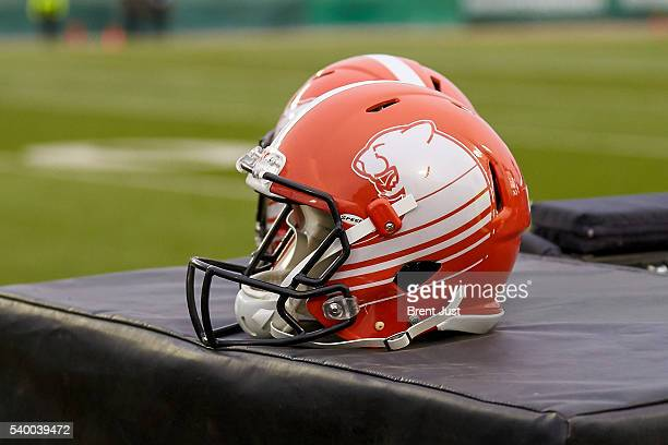 A helmet shot of the new BC Lions uniform taken during the preseason game between the BC Lions and Saskatchewan Roughriders at Mosaic Stadium on June...