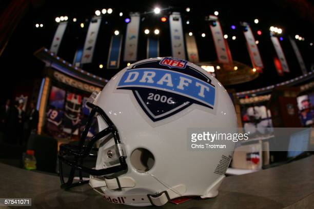 A helmet with the 2006 NFL Draft logo is shown on April 29 2006 at Radio City Music Hall in New York New York