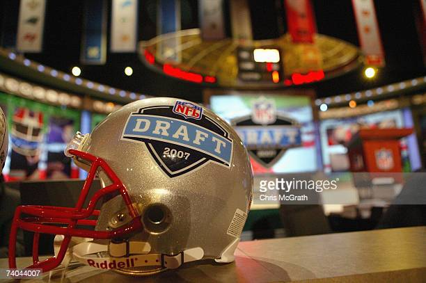 A helmet with the NFL Draft logo is shown during the 2007 NFL Draft on April 28 2007 at Radio City Music Hall in New York New York